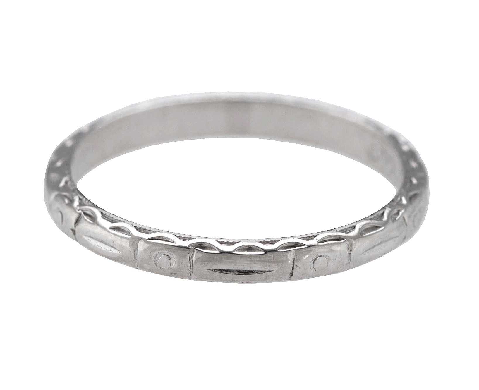 1930's Antique Art Deco Platinum 2mm Etched Stackable Eternity Wedding Band Ring