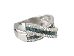 Womens Modern 14K White Gold Blue Sapphire Diamond Criss Cross X Cocktail Ring