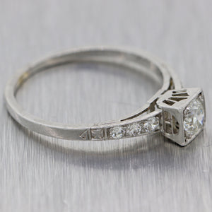 1920s Antique Art Deco Estate Platinum .53ctw Diamond Engagement Ring N8