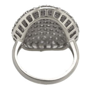 Stunning Ladies 14K White Gold 3.50ctw Pave Diamond Round Concave Cocktail Ring
