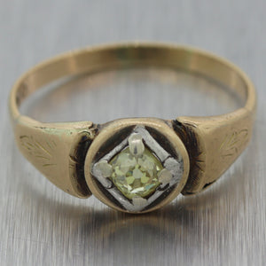 1850's Antique Victorian 14k Yellow Gold 0.25ct Rose Cut Yellow Diamond Ring
