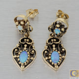 1880s Antique Victorian 14k Yellow Gold 1.00ctw Fire Opal Dangle Hanging Earrings A8