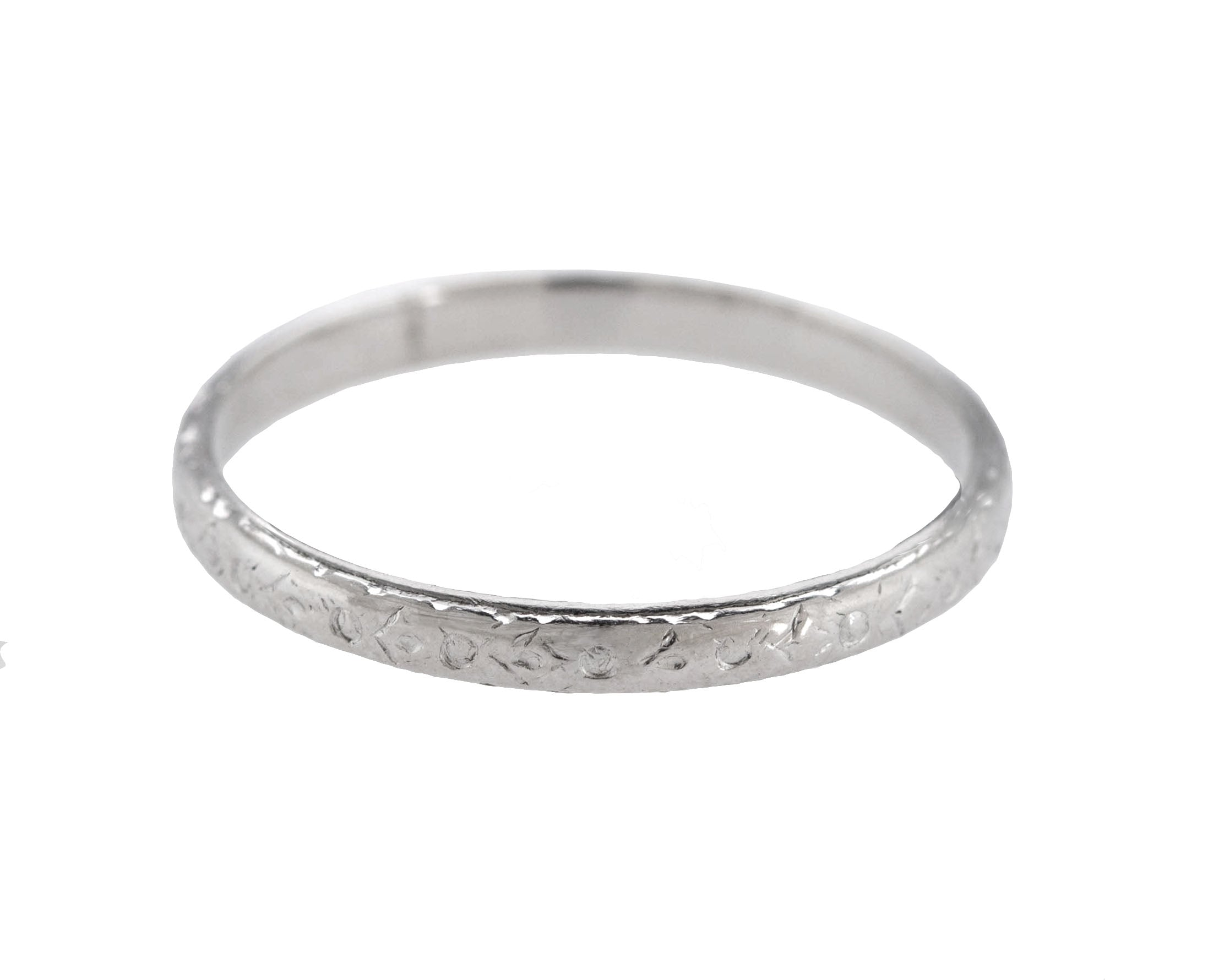 1930's Antique Art Deco Platinum 2mm Etched Stackable Eternity Band Ring