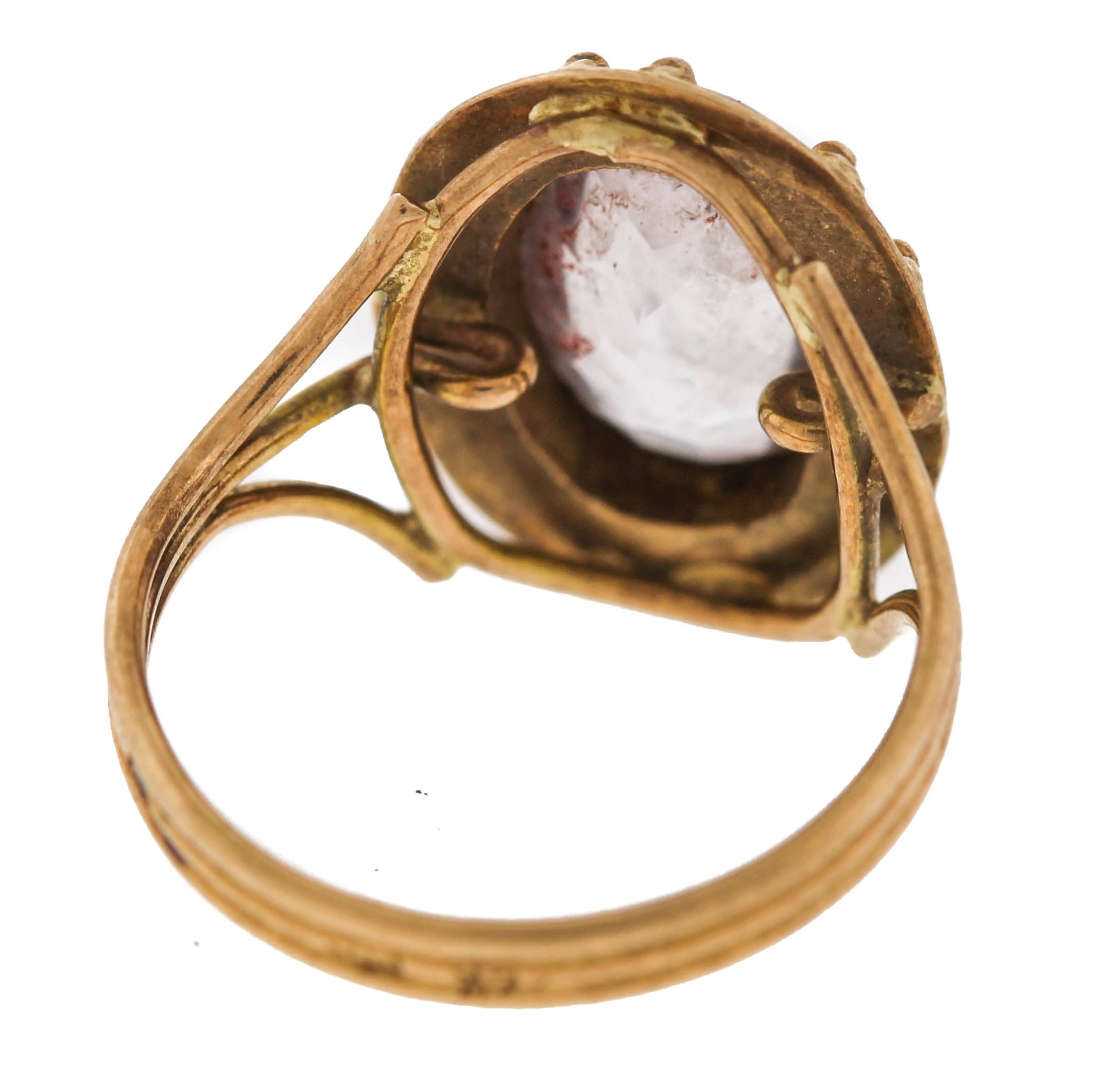 Ladies Vintage Estate 14K Yellow Gold Quartz Cabochon Cocktail Ring
