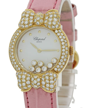 Ladies Chopard Happy 7 Floating Diamond 20/6556 18k Gold Bow Pink Watch B&P J8