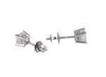 Women's Estate 950 Platinum 0.98ctw F-G Square Cut Diamond Stud Earrings