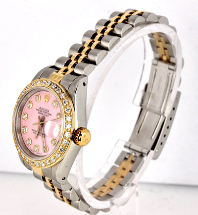Ladies Rolex DateJust 69173 Pink MOP 26mm Diamond Two Tone Gold Jubilee Watch