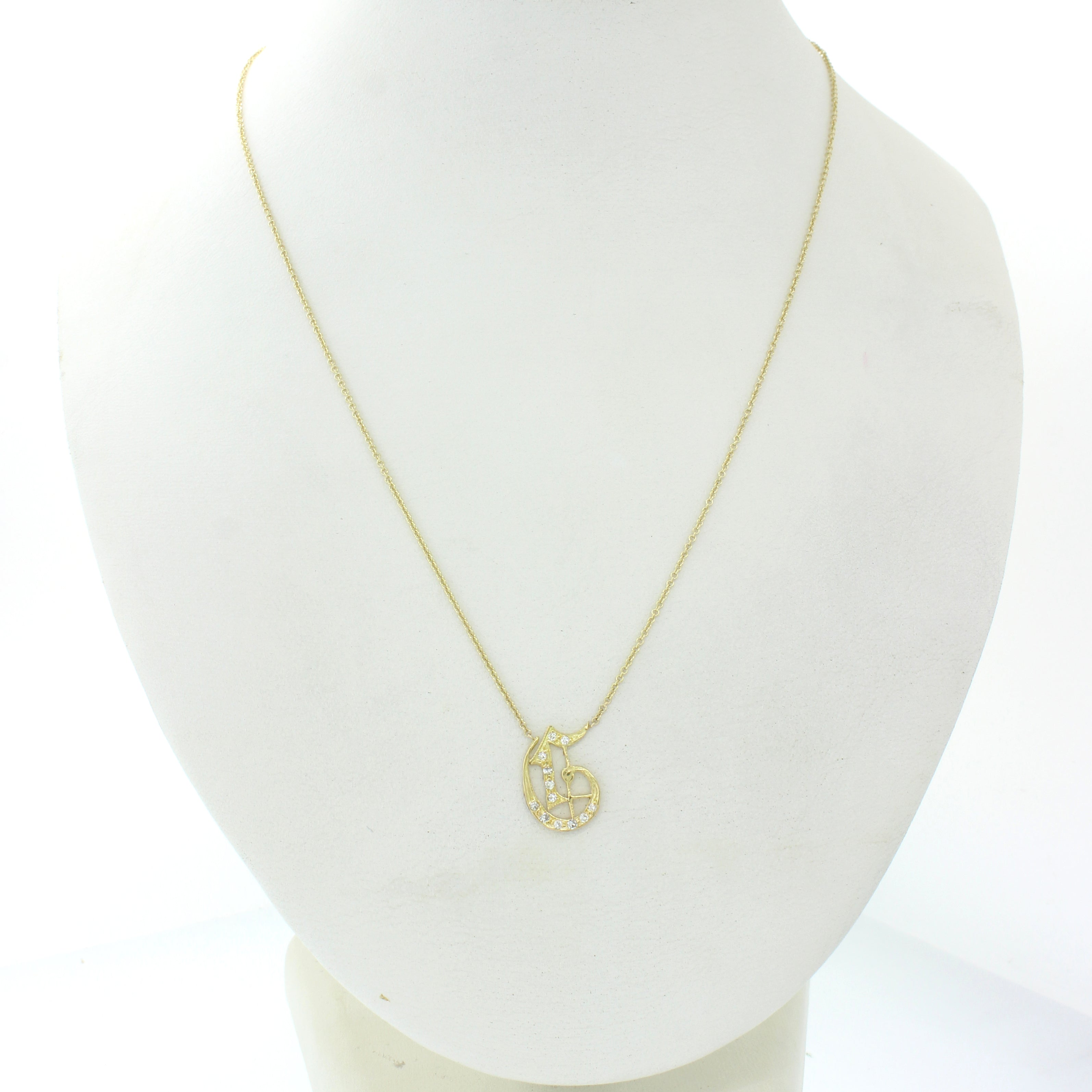 Vintage 14k Yellow Gold .10ct Diamond G Initial Monogram Pendant Chain Necklace