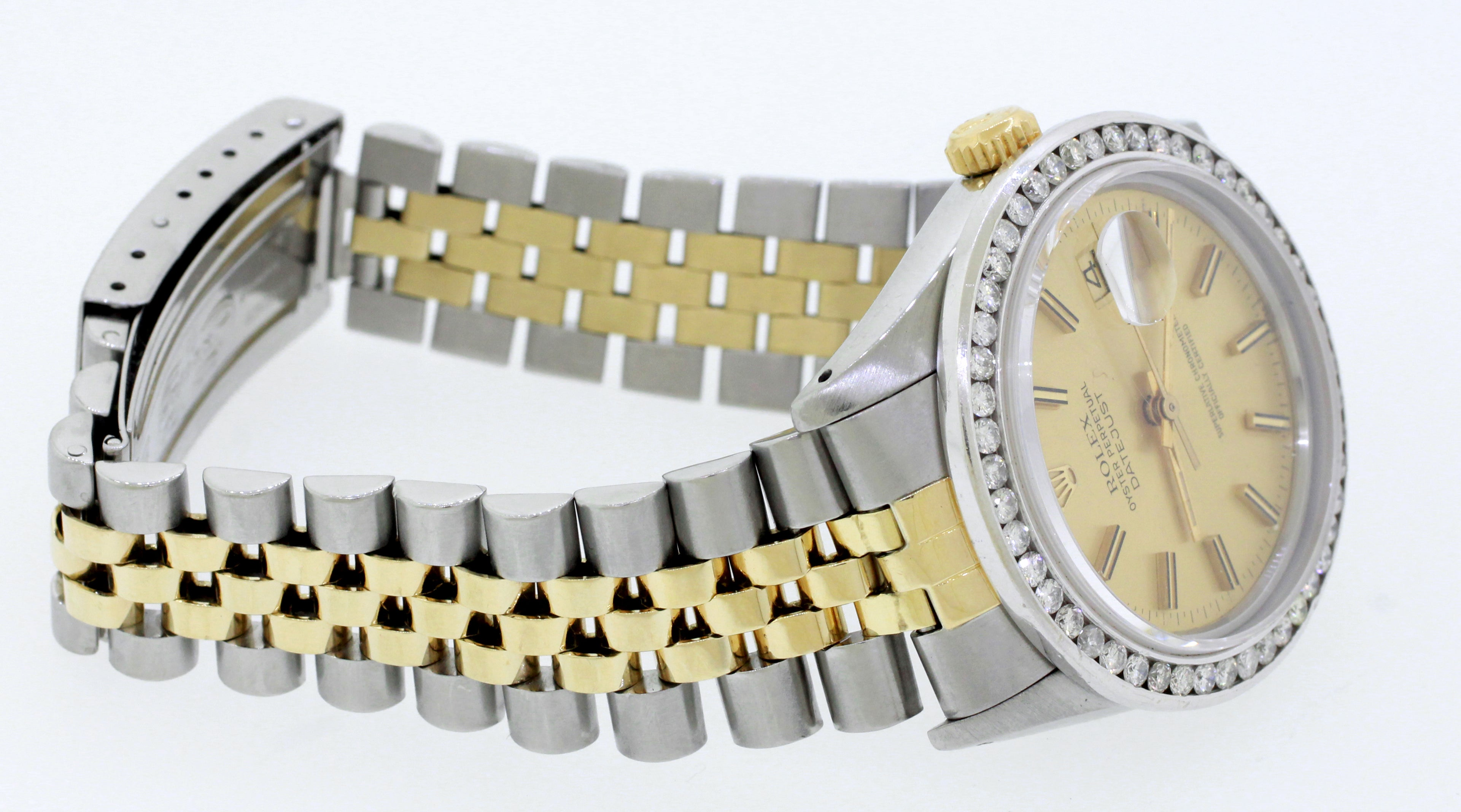 1980s Rolex 16013 Datejust 36mm 2.40ctw Diamond Bezel Two-Tone 18k Gold Watch