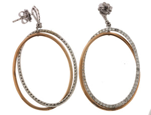 Ladies 14K 585 White Rose Gold Two Tone Oval Dangling 2.47ctw Diamond Earrings