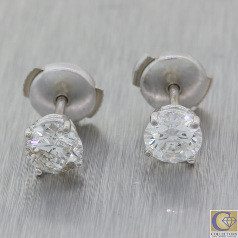 Women's Modern Solid 14k White Gold 6mm 1.50ctw Diamond Stud Earrings A8