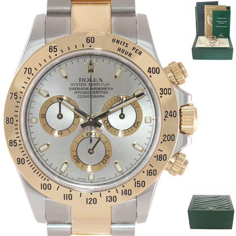 MINT 2008 Rolex Daytona 116523 Slate Steel 18k Gold Two Tone Watch