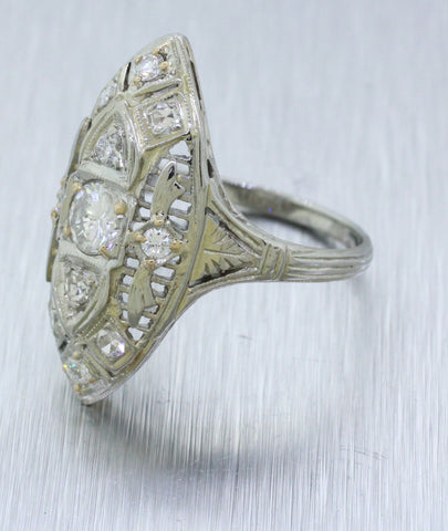 Antique Art Deco 18k White Gold 0.75ctw Diamond Filigree Marquise Cocktail Ring