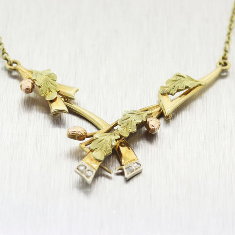 "1930's Antique Art Deco 14k Yellow Gold Rose Cut Diamond 18"" Necklace"