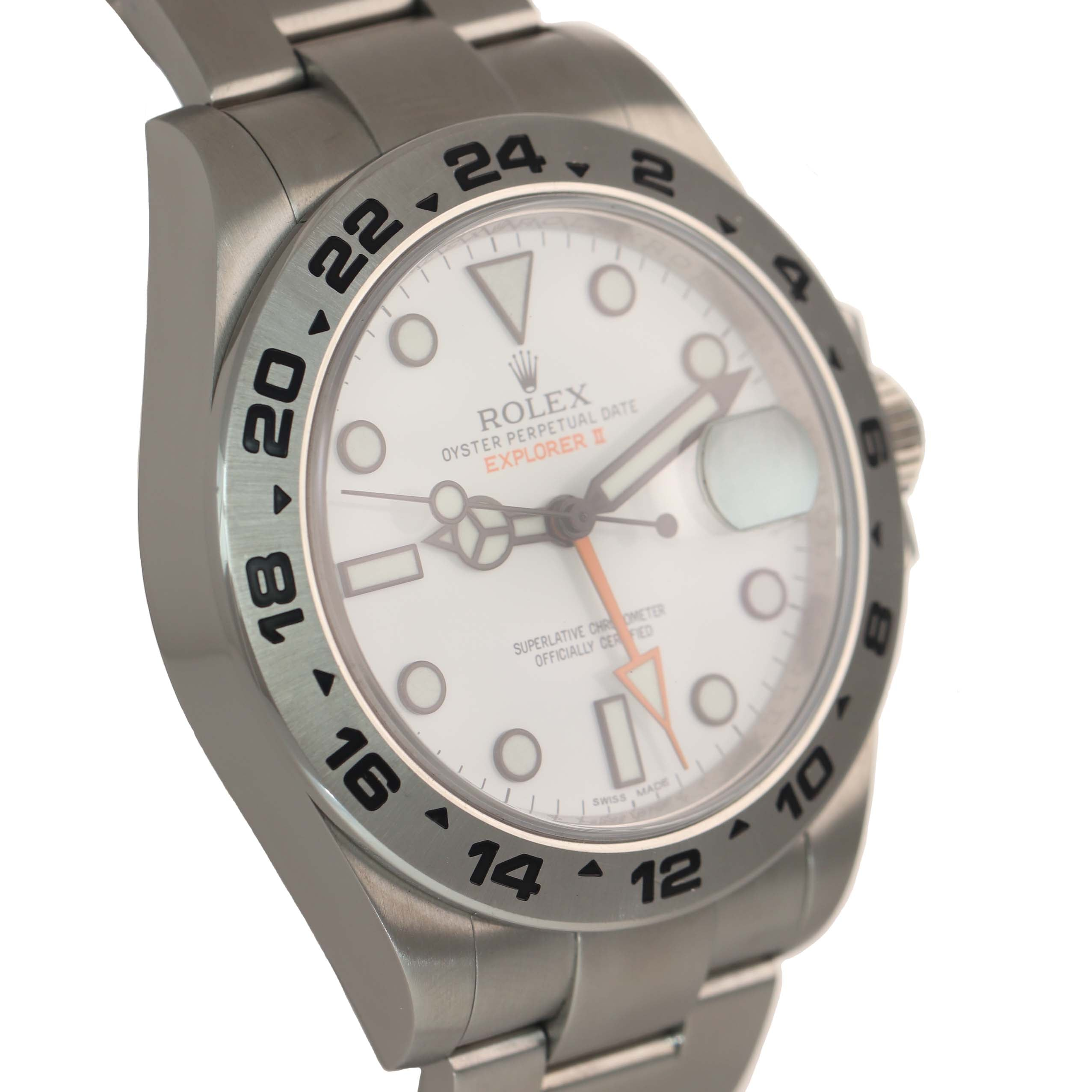 PAPERS 2015 Rolex Explorer II 42mm 216570 White Polar Steel GMT Date Watch