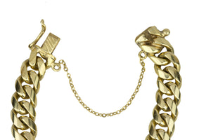 "Men's Vintage Estate 18K Yellow Gold 9mm Cuban Link Chain 7.50"" Bracelet 59.3gr"