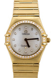 Omega Constellation My Choice Mini MOP Diamond 1164.75.00 18K Yellow Gold Watch