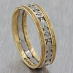 1930s Antique Art Deco 14k Yellow White Gold 5mm Wide Floral Band Ring F8