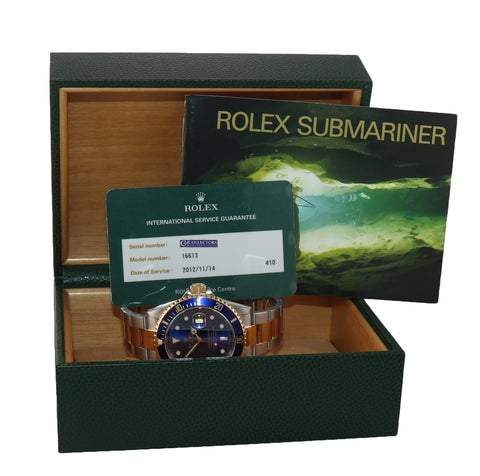2014 RSC PAPERS Rolex Submariner 16613 Two Tone Steel 18k Gold Blue Watch Box