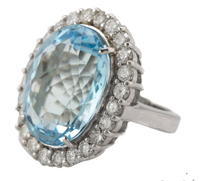 Exquisite 14K White Gold 26.92 CT Aquamarine Oval Cut Diamond Cocktail Ring