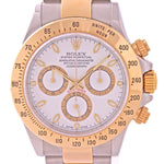 PAPERS Rolex Daytona Cosmograph 116523 White 18k Yellow Gold Steel TwoTone Watch N8