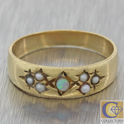 1880s Antique Victorian Estate 14k Yellow Gold Opal Seed Pearl 3mm Wide Band Ring F8
