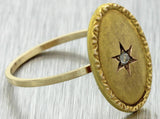 1880s Antique Victorian Estate 14k Yellow Gold Diamond Jewish Star Cocktail Ring