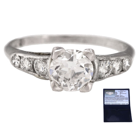 Antique Platinum 0.80 CT Transition Round Brilliant Diamond Engagement Ring EGL