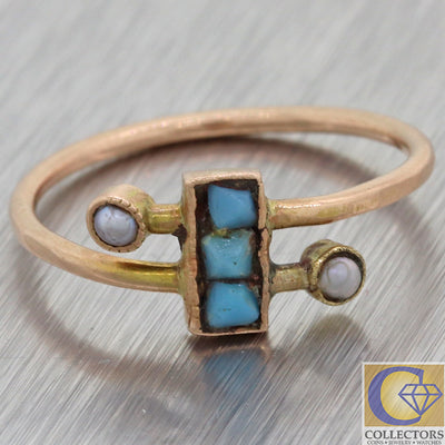1880s Antique Victorian Estate 14k Rose Gold Seed Pearl Turquoise Steampunk Ring F8