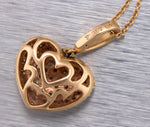 "Ladies Sonia B. 14K 585 Rose Gold 1.44ctw Diamond Heart 18.00"" Pendant Necklace"