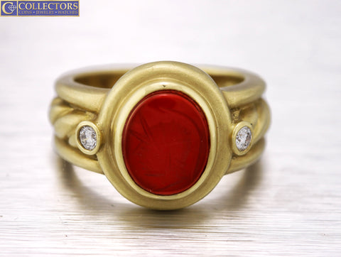 Ladies Judith Ripka 18K Yellow Gold Red Carnelian Intaglio Carved Diamond Ring
