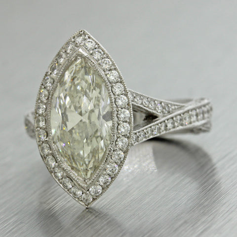 4.47ctw Marquise & Round Cut Diamond 18k White Gold Halo Engagement Ring $30760
