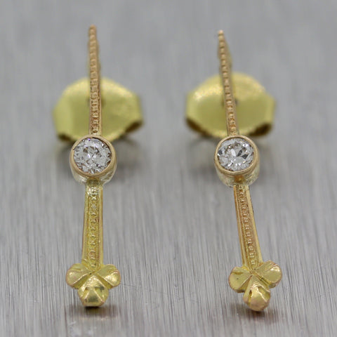 1890's Antique Victorian 14k Yellow Gold 0.10ctw Diamond Drop Earrings