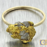 1880 Antique Victorian Estate Solid 22k Yellow Gold Natural Nugget Cocktail Ring