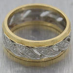 1930's Antique Art Deco 14k Yellow & White Gold Wedding Band Ring