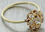 1870s Antique Victorian Estate 14k Multi Gold .50ctw Diamond Cluster Ring