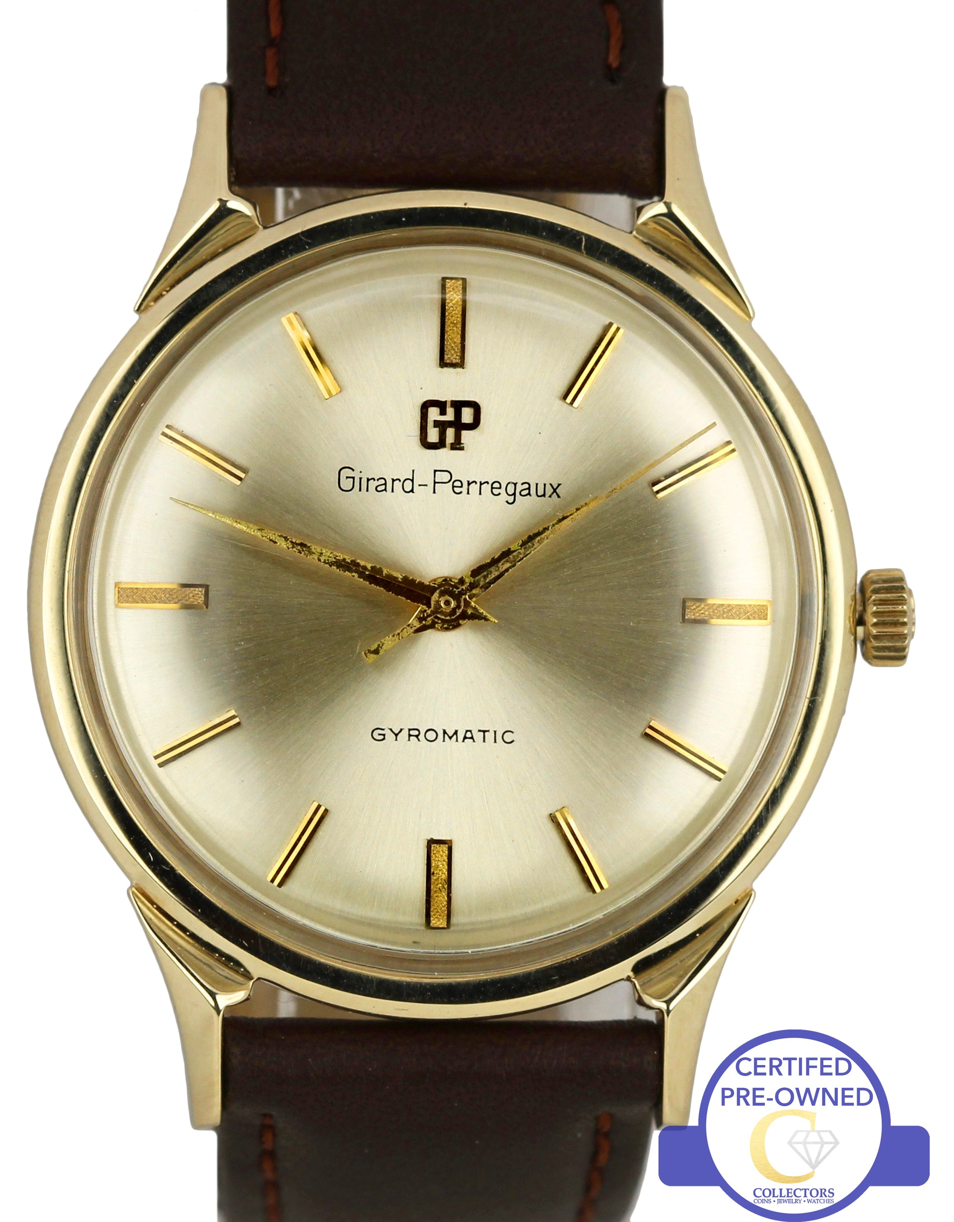 Vintage Girard Perregaux Gyromatic Silver 33mm 14K Yellow Gold Leather Watch