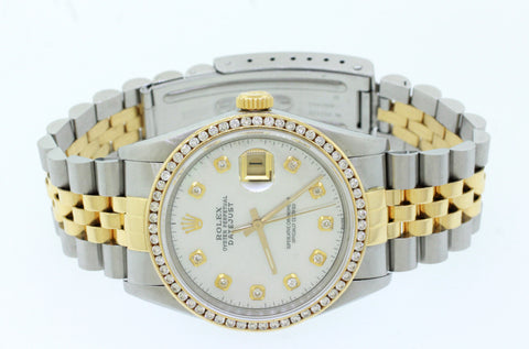 1980s Rolex 16013 Datejust 36mm 1.00ctw Diamond Bezel MOP Two-Tone Gold Watch
