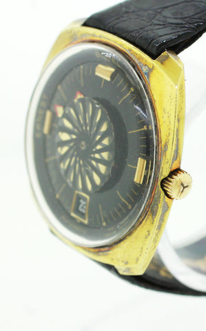 Ernest Borel Synchron Gold & Black Kaleidoscope Dial 36mm Date Watch