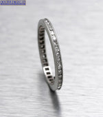 Ladies Estate 14K White Gold 0.20ctw Diamond Milgrain Eternity Wedding Band Ring