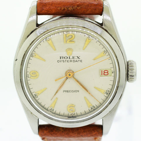 Vintage Rolex Oysterdate Precision Stainless Steel White 32mm Date Watch 6066