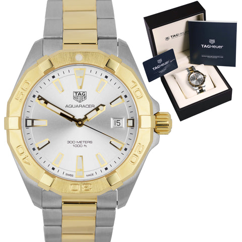 BRAND NEW TAG Heuer Aquaracer Two-Tone Steel Gold Date 41mm Watch WBD1120.BB0930