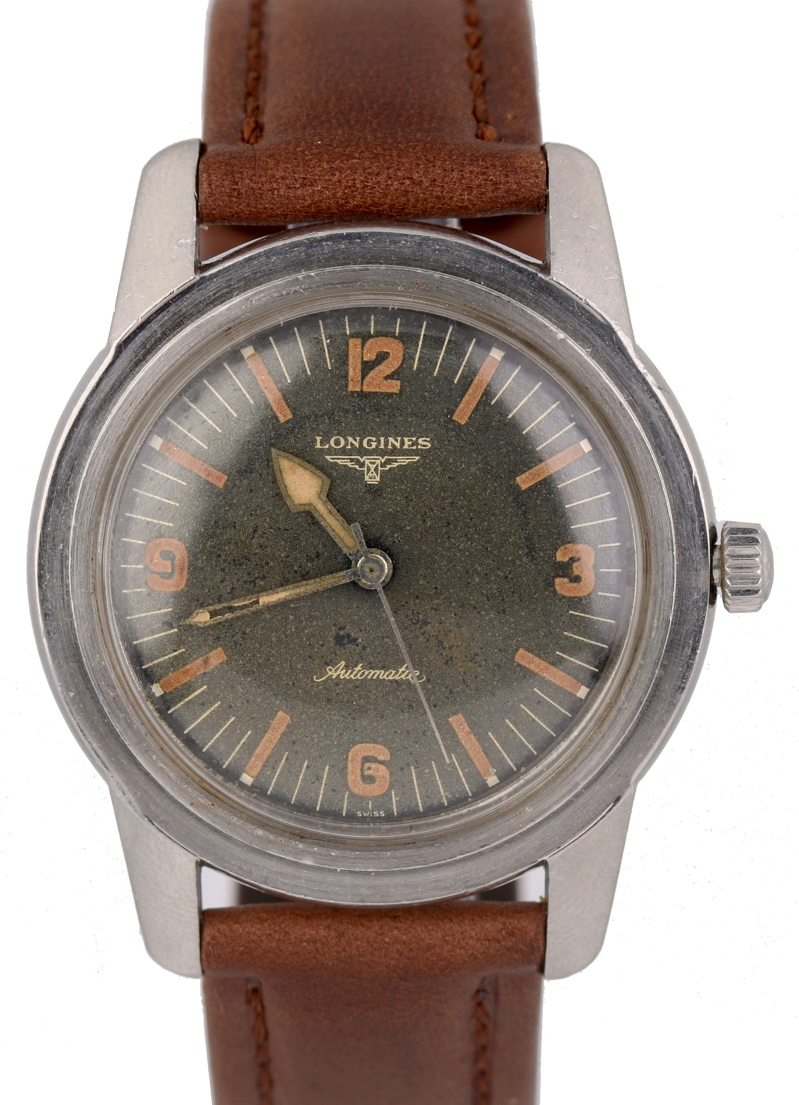 Vintage Longines Natilus Diver Ref 6921 Stainless Leather Radium 40mm Watch