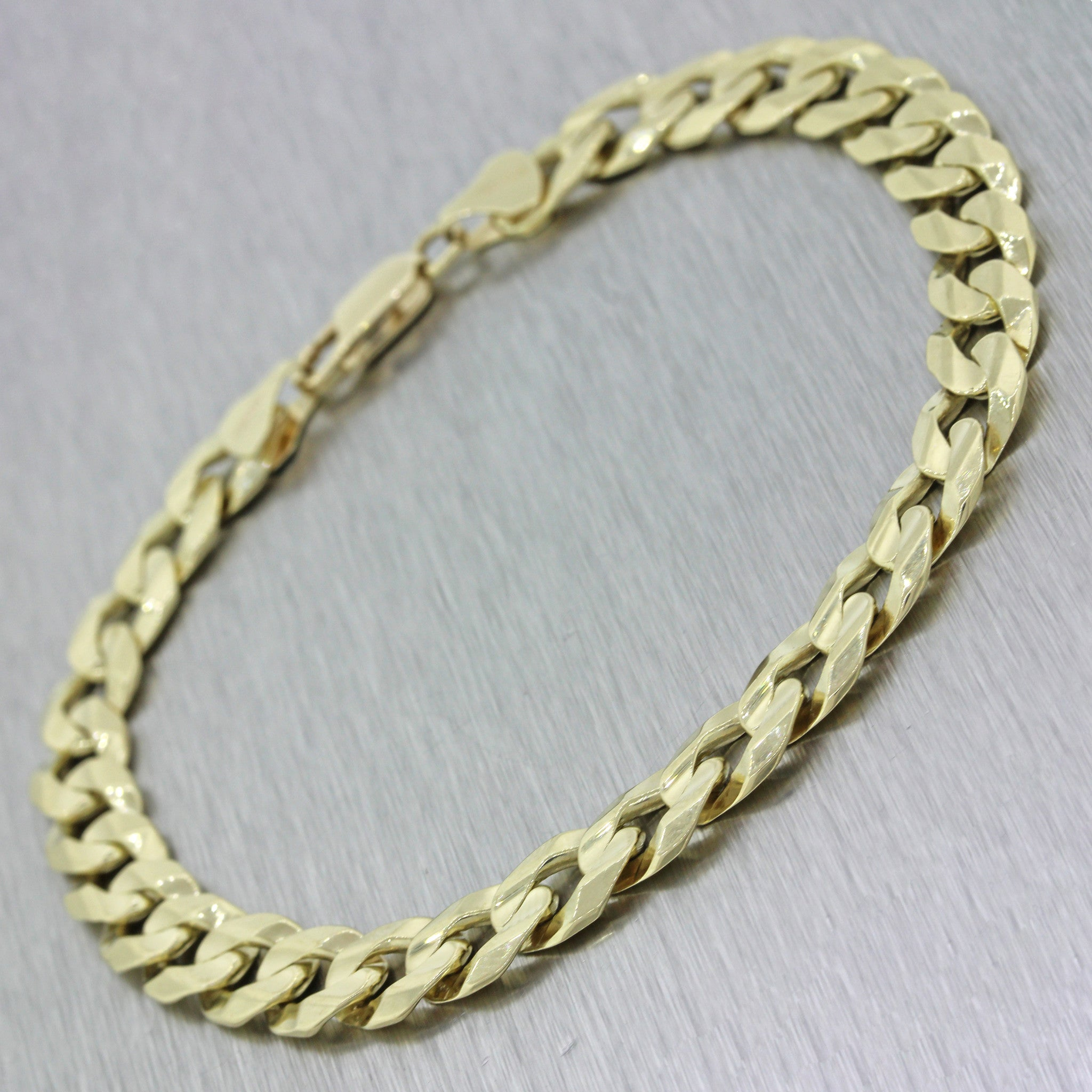 "Men's Women's 10k Solid Yellow Gold 8.5"" Cuban Curb 8mm Link Bracelet 18.6g"