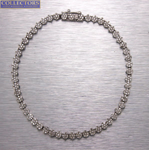 Ladies Estate 14K White Gold 1.89ctw Diamond Floral Cluster Tennis 7.00 Bracelet