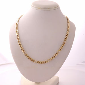 "Mens Solid 14k Yellow Gold 5mm Figaro Link Chain Link Necklace 24.5"" 47.6g N8"