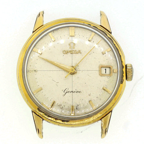 Vintage Omega Geneve 34mm Gold and Steel Date Automatic Watchhead