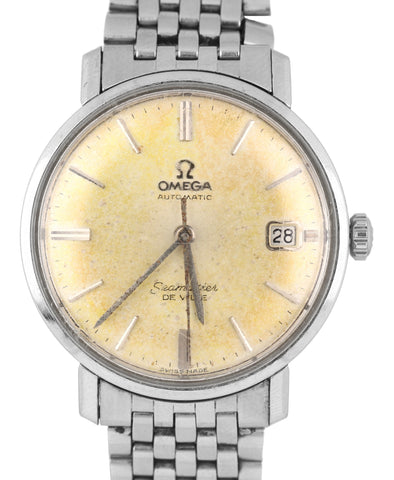 1960s Vintage Omega Automatic Seamaster DeVille Stainless Patina 34.50mm Watch