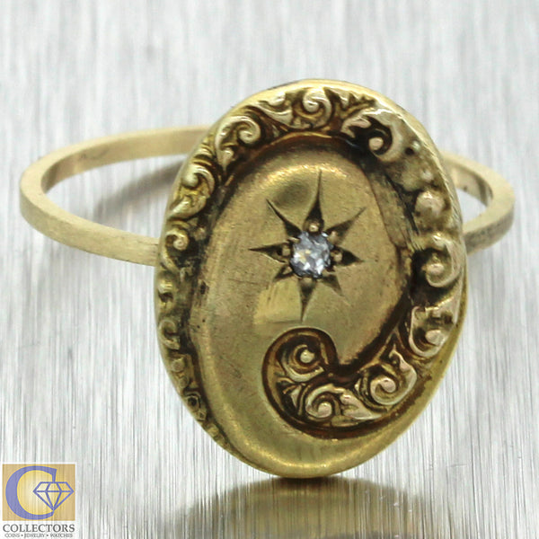 1880s Antique Victorian Estate 14k Yellow Gold .02ctw Diamond Star Cocktail Ring