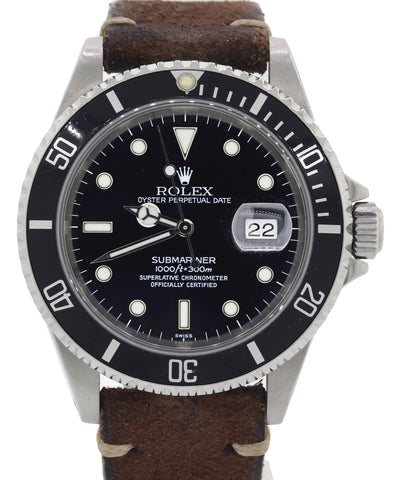 Rolex Submariner Date 16610 P Stainless Steel Black Leather 40mm Dive Watch F8
